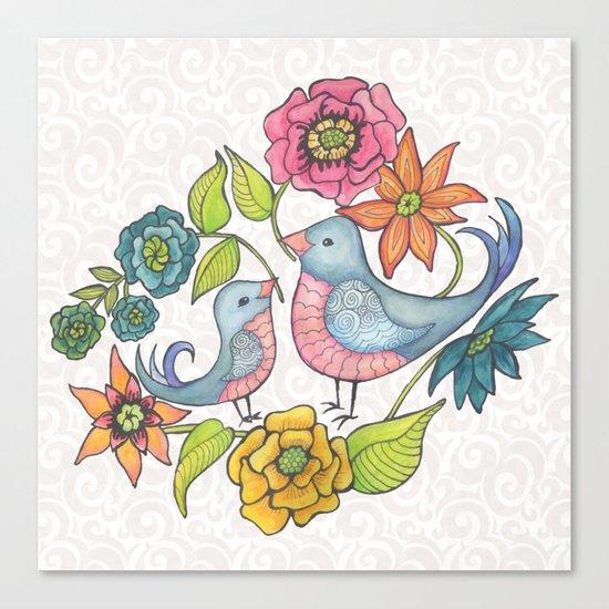 Blue Bird Garden Canvas Print