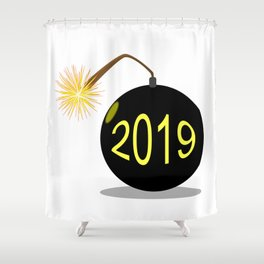 Cartoon 2019 New Year Bomb Shower Curtain