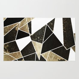 Modern Rustic Black White and Faux Gold Geometric Rug