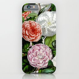 Vintage & Shabby Chic Green Large Dark Floral Camellia  Flowers Watercolor Pattern iPhone Case