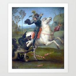 """Raffaello Sanzio da Urbino """"Saint George and the Dragon"""", 1503 - 1505 Art Print"""