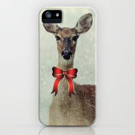 Christmas Deer Holiday Greetings iPhone Case