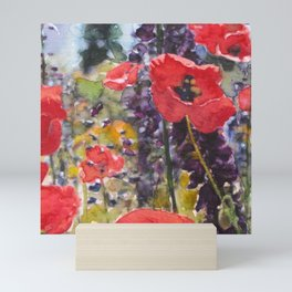 """Red Poppy Field Painting Reproduction Watercolor """"Wild Poppy Field"""" Mini Art Print"""