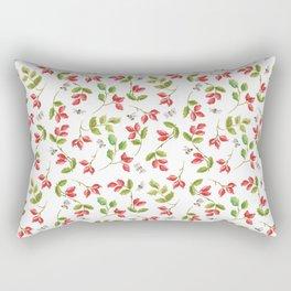 Rosehip and Bee Pattern Rectangular Pillow