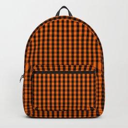 Dark Pumpkin Orange and Black Gingham Check Pattern Backpack