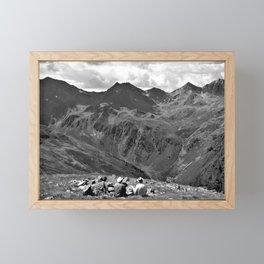 zwölferkopf hiking break view alps serfaus fiss ladis tyrol austria europe black white Framed Mini Art Print