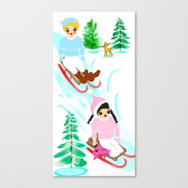 Tomboys' Toboggan Party Canvas Print
