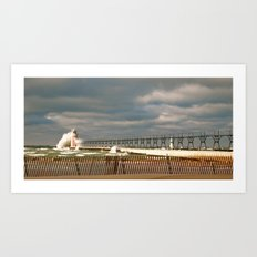 Lighthouse in South Haven, MI Art Print