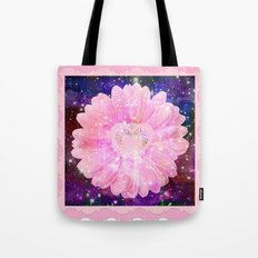 Pink flower with sparkles  Tote Bag