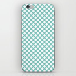 Polka dots - turquoise and white iPhone Skin