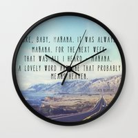 kerouac Wall Clocks featuring Hwy 1 Kerouac by Altgasse Designs