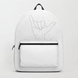 Minimal Line Art Shaka Hand Gesture Backpack