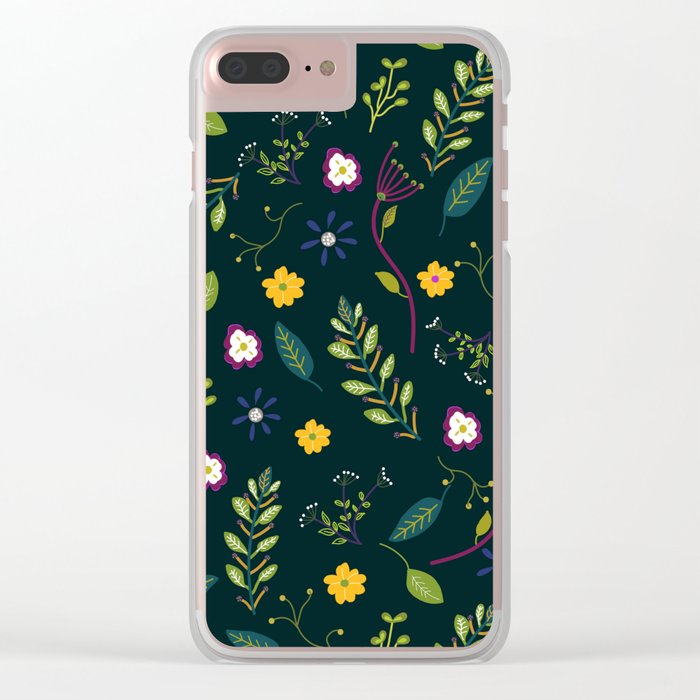 Floral Greenery Pattern I Clear iPhone Case