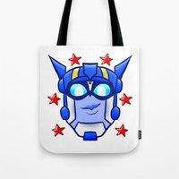 optimus prime Tote Bags featuring Transformers Animated Optimus Prime by Bloo McDoodle