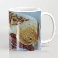 breakfast Mugs featuring Breakfast by Gurevich Fine Art