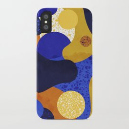 Terrazzo galaxy blue night yellow gold mustard iPhone Case