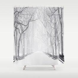 Snowy Park Shower Curtain