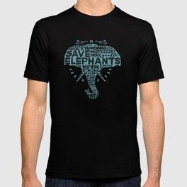 Save Elephants - Word Cloud Silhouette T-shirt
