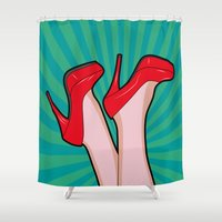 sexy Shower Curtains featuring sexy  by mark ashkenazi
