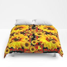 KANSAS WESTERN BLACK & RED YELLOW SUNFLOWERS Comforters