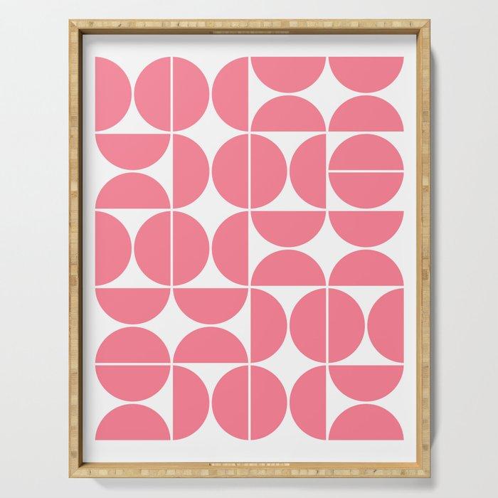 Mid Century Modern Geometric 04 Pink Serving Tray