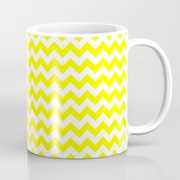 chevron Mugs featuring Chevron (Yellow/White) by 10813 Apparel