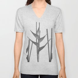 Three Heliconia black white Design Unisex V-Neck