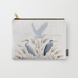 Great Blue Heron on White Carry-All Pouch