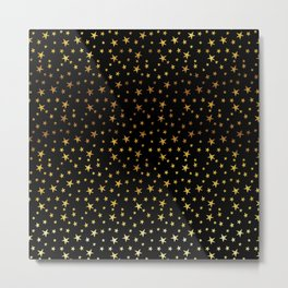 Mini Stars - Gold on Black Metal Print