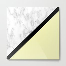 Black and White Marble w/Yellow Metal Print