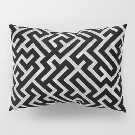 Maze -Black and Silver- Pillow Sham