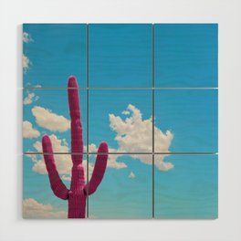 Pink Saguaro Against Blue Cloudy Sky Wood Wall Art