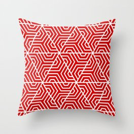 Rosso corsa - red - Geometric Seamless Triangles Pattern Throw Pillow