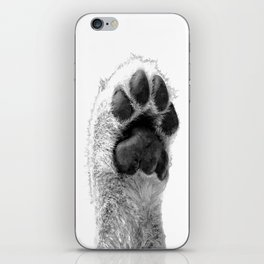 Black and White Dog Paw iPhone Skin