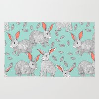 rabbits Area & Throw Rugs featuring Rabbits by Wee Jock
