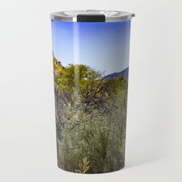 Fresh Green Plants Growing Near Underground Water by the Mountains in the Anza Borrego Desert Travel Mug