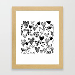 Hearts black and white hand drawn minimal love valentines day pattern gifts decor Framed Art Print