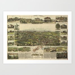 Aerial View of Auburn, California (1887) Art Print