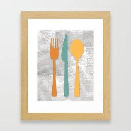 Utensils+Recipes Framed Art Print