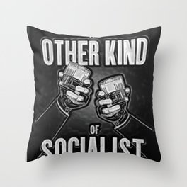 """Vintage """"The Other Kind of Socialist"""" Alcoholic Lithograph Advertisement in shiny silver Throw Pillow"""