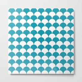 Fan Pattern 321 Turquoise Metal Print
