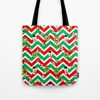 cartoons Tote Bags featuring Festive Christmas Cartoons on Chevron Pattern by Kirsten Star