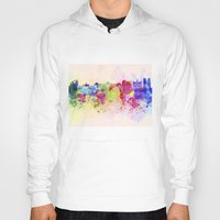 brussels Hoodies featuring Brussels skyline in watercolor background by Paulrommer