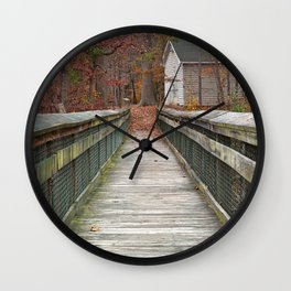 Rustic Autumn Boardwalk Wall Clock