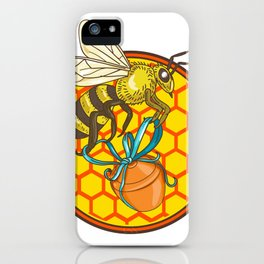 Bumblebee Carrying Honey Pot Beehive Circle iPhone Case