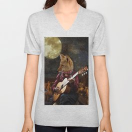Tom Coyote and the Full Moon Unisex V-Neck