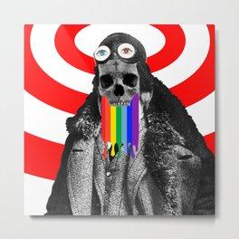 Rainbow Skull Pilot Metal Print