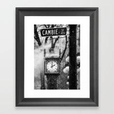 Cambie Street (snow) Framed Art Print