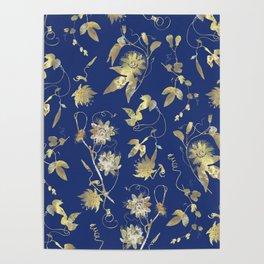 Elegant Gold Blue Passiflora Pattern Poster