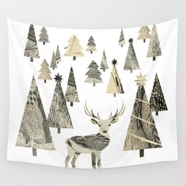 Winter Woods, collage Wall Tapestry